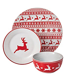 18 Piece Stag Christmas Dinner Set