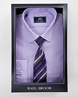 Rael Brook Lilac Boxed Long Sleeve Shirt And Tie Set Regular