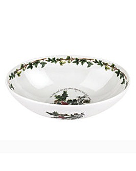 Holly & Ivy Oval Bowl 9""