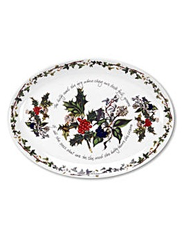 Holly & Ivy Oval Platter 13""
