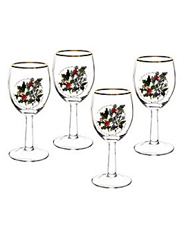 Holly & Ivy Wine Glasses x 4