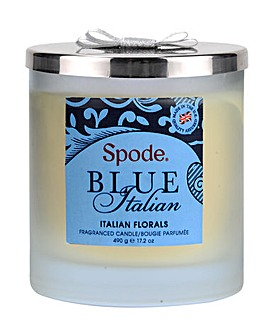 Spode Blue Italian 2 Wick Candle