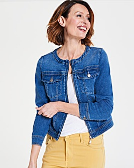 Collarless Zip Front Denim Jacket