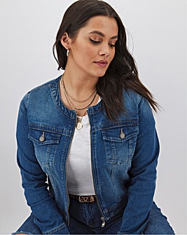 Mid Blue Collarless Zip Front Denim Jacket