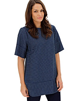 Lightweight Stripe Denim Smock Tunic
