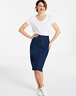 Jersey Denim Button Midi Skirt
