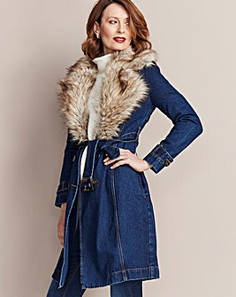 Denim Trench Coat With Detachable Fur