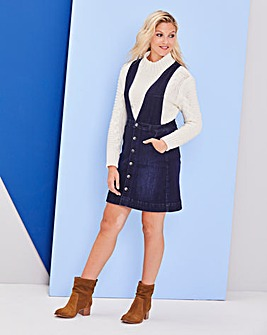 Deep V Denim Pinafore Dress