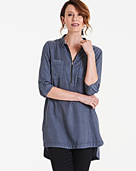 Soft Tencel Denim Tunic with Zip Front