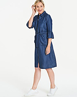 SoftTencel Denim Zip Belted Shirt Dress