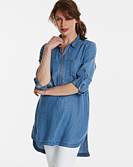 Petite Zip Front Tencel Denim Tunic