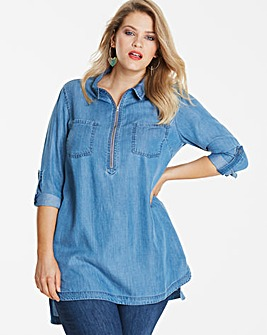 Petite Blue Zip Front Tencel Denim Tunic