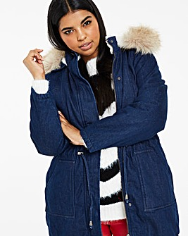 Luxe Fur Lined Denim Parka