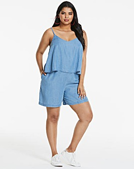 Soft Tencel Denim Double Layer Playsuit