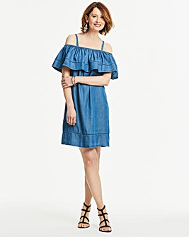 Soft Tencel Ruffle Cold Shoulder Dress