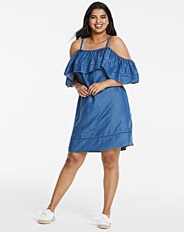 Soft Tencel Ruffle Cold Shoulder Dress