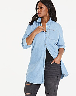 Maternity Distressed Longline Denim Shirt