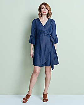 Soft Tencel Denim Wrap Front Midi Dress