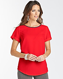 Blouse With Shaped Hem In Easycare Fabric