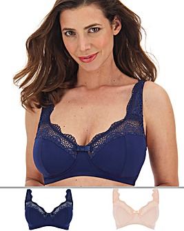 Pretty Secrets 2 Pack Lottie Lace Navy/Blush Non Wired Bras