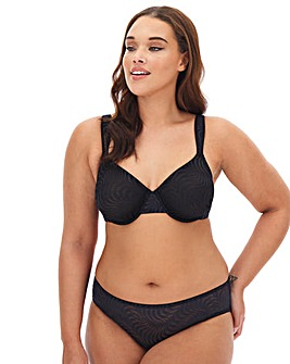 Pretty Secrets Jessica Jaquard Lace Black Minimiser Full Cup Bra