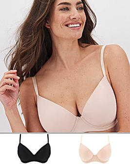 2Pack Feather Touch Moulded Tshirt Bra