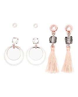 Tassel Stone Hoop Multi Pack Earrings