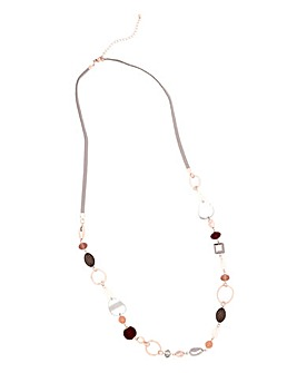 Mixed Bead Long Rope Necklace