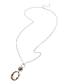 Organic Shape Long Pendant Necklace