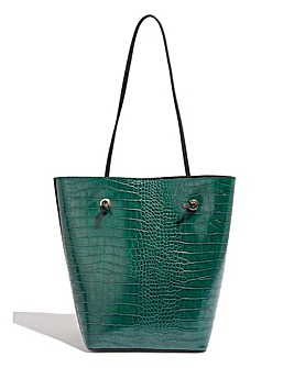 Oasis Green Croc Mini Tote Bag