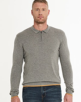 Grey Marl Wool Mix Knitted Polo Long