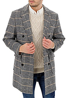 Check Double Breasted Wool Mix Coat