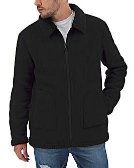 Black Faux Shearling Biker Style Jacket