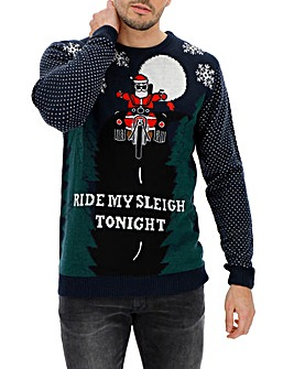 Navy Ride My Sleigh Jumper Long