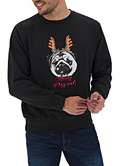 Merry Pugmas Sweatshirt Long