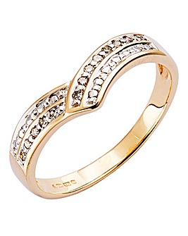 9 Carat Gold Diamond Wishbone Ring