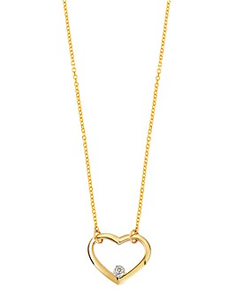 9 Carat Gold Diamond Heart Pendant