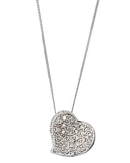 9 Carat White Gold Diamond Heart Pendant