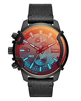 Diesel Black Leather Strap Watch