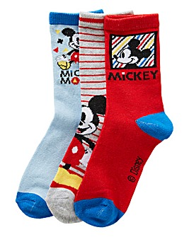 Mickey Mouse Boys Pack of Three Socks