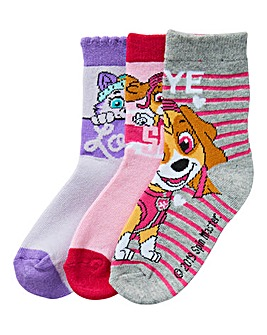 Paw Patrol Girls Pack of Three Socks