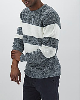 Navy Stripe Textured Knit Jumper Long