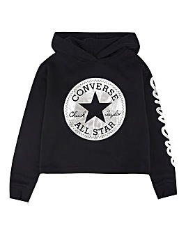 Converse Girls Black Foil Cropped Hoodie