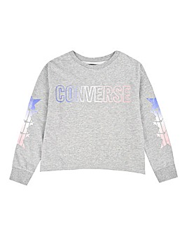 Converse Girls Grey Cropped Sweatshirt