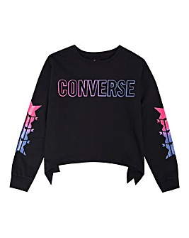 Converse Girls Black Cropped Sweatshirt