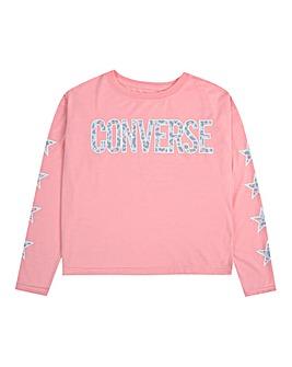 Converse Girls Leopard Print L/S T-Shirt