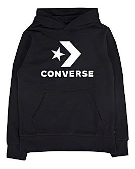 Converse Boys Black Stacked Logo Hoodie