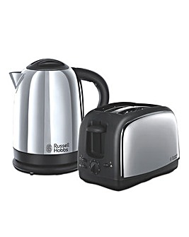 Russell Hobbs 21830 Lincoln Polished Stainless Steel Kettle and Toaster Pack
