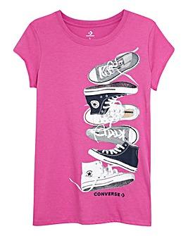Converse Girls Fucshia Stack T-Shirt