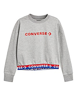 Converse Girls Grey Wordmark Pullover
